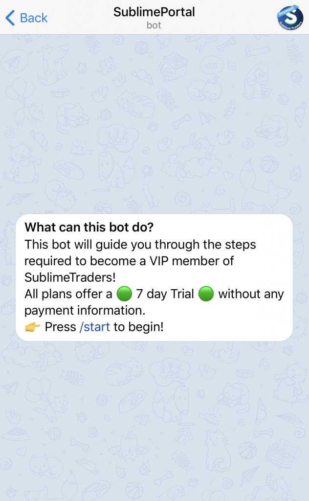 Sublimeportal crypto signals telegram bot